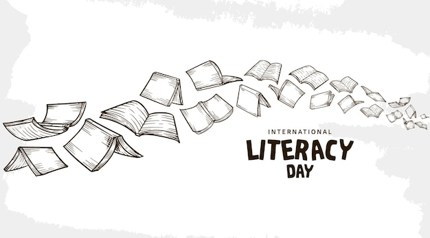 International literacy day with flying books isolated on white background