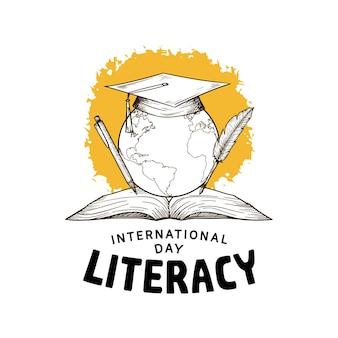 흰색 배경에 격리된 글로브, 책, 펜, 노란색 브러시가 있는 국제 문맹 퇴치의 날