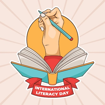 International literacy day with hand and book