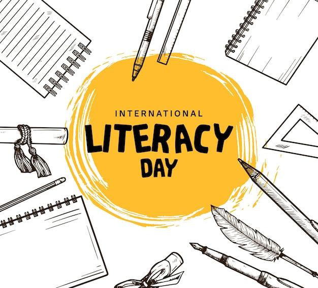 Международный день грамотности с рисованным элементом и желтой кистью на белом фоне