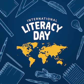 International literacy day with hand drawn element isolated on blue background