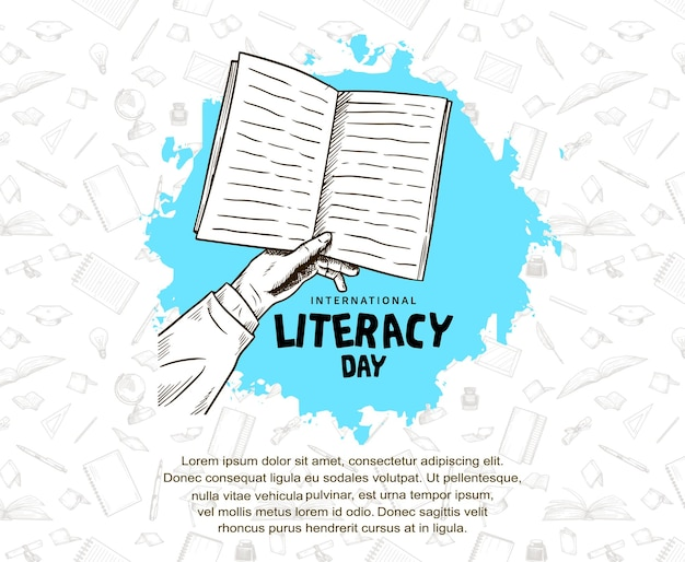 International literacy day with hand holding book, blue brush isolated on white background