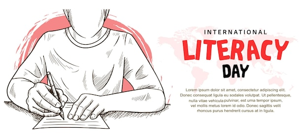 International literacy day with man writing illustration and pink brush isolated on white background