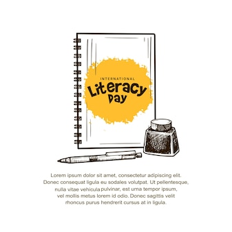 International literacy day with notebook, pen and ink isolated on white background