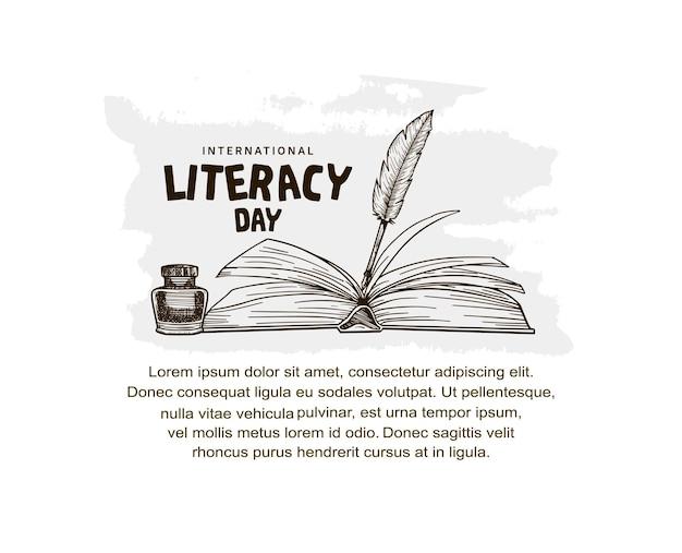 흰색 배경에 격리된 펼친 책과 깃털 펜 삽화가 있는 국제 문맹 퇴치의 날