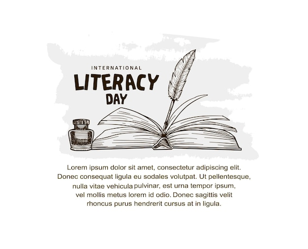 International literacy day with open book and feather pen illustration isolated on white background