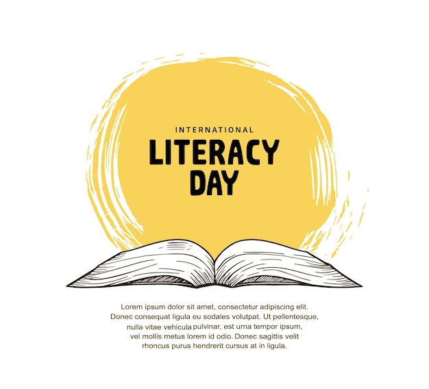 International literacy day with open book illustration, yellow brush and white background