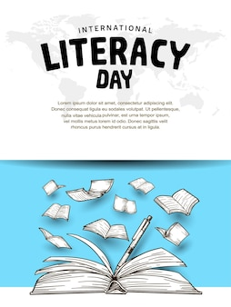 International literacy day with open book pen and flying books blue background