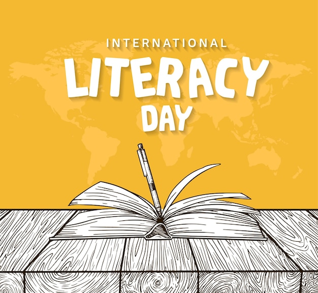 International literacy day with open book and pen isolated on yellow background