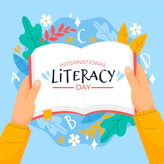 International literacy day with open book