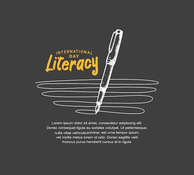 Международный день грамотности с иллюстрацией линии письма ручкой, изолированной на черном фоне