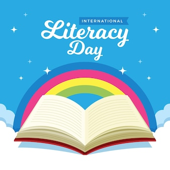 International literacy day with rainbow and open book