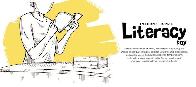 흰색 바탕에 책 그림 노란색 브러시를 읽는 여성과 함께하는 국제 문맹 퇴치의 날