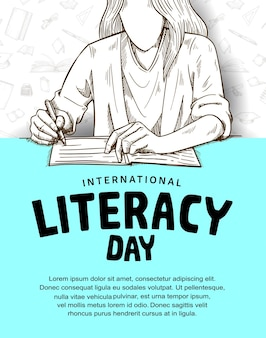 International literacy day with woman reading and writing illustration on blue and white background