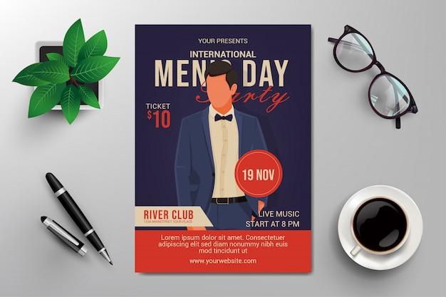 International men's day flyer template