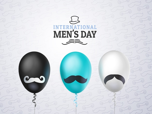 International mens day or father's day greeting card, balloons black, white, blue with mustache