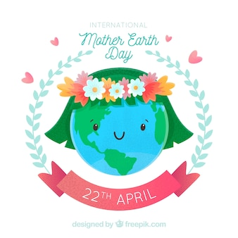 International mother earth day background with cute world