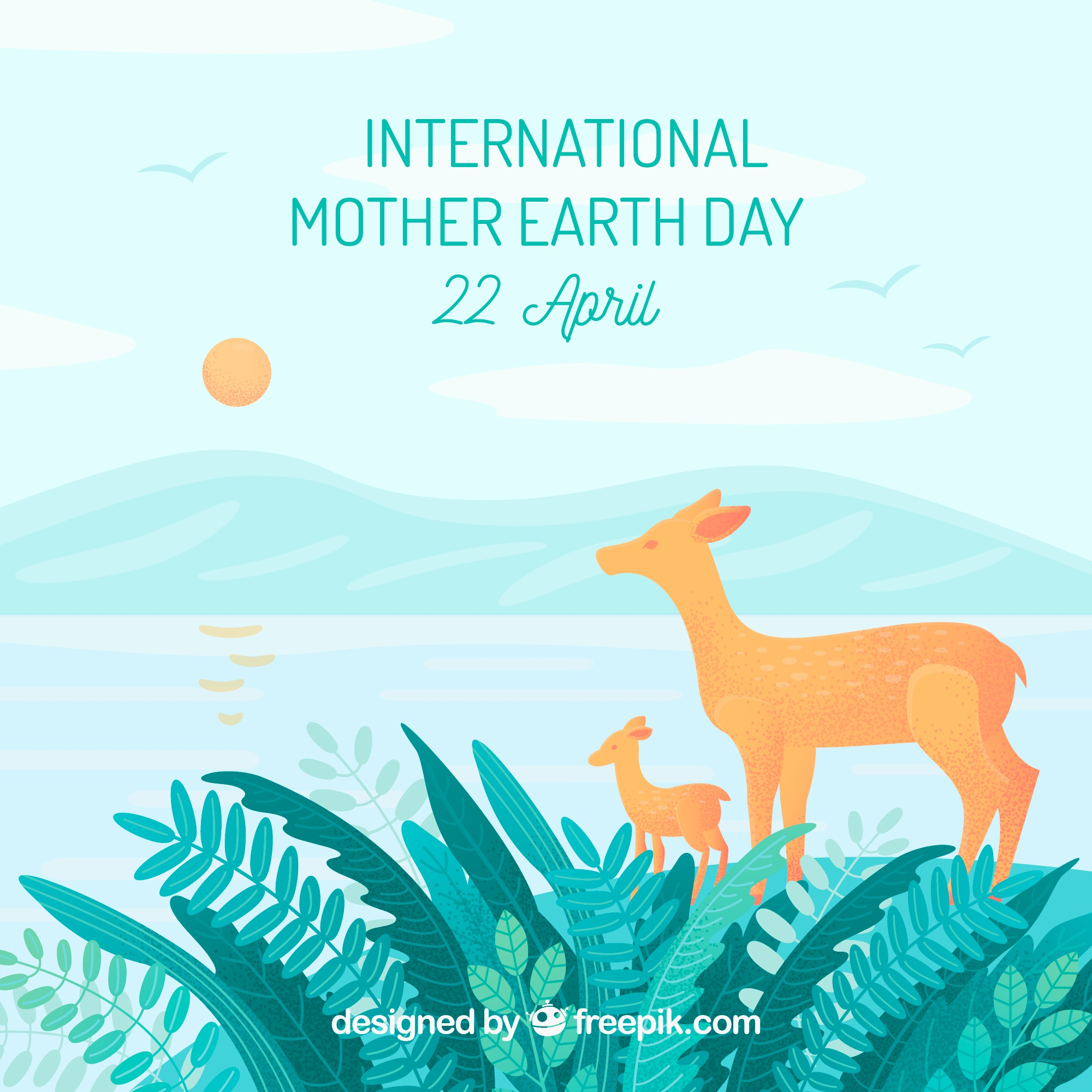 International mother earth day background with deers in the forest