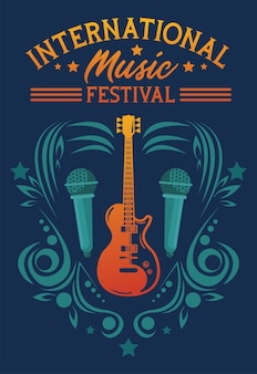 International music festival poster with electric guitar and microphones
