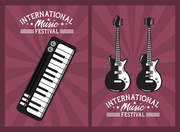International music festival poster with electric guitars and piano