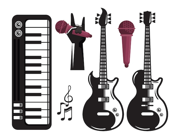 International music festival poster with electric guitars and set of icons