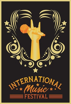 International music festival poster with hand lifting microphone in black background