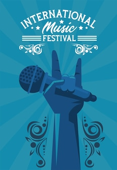 International music festival poster with hand lifting microphone in blue background