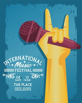 International music festival poster with hand lifting microphone and lettering