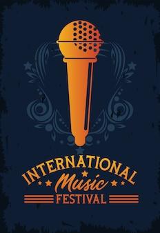 Афиша международного музыкального фестиваля с микрофоном на синем фоне