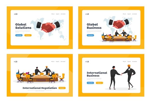 국제 협상, 원탁 랜딩 페이지 템플릿 세트에서의 정치 회의. 세계 문제를 해결하는 대표단, 악수하는 대변인