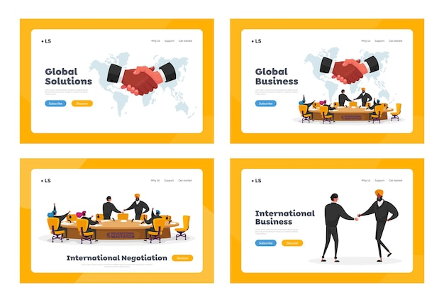 International negotiations, political meeting at round table landing page template set. delegates solving world issues, spokesmen shaking hands