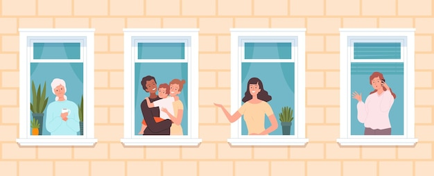 International neighborhood. multicultural neighbors, cute people look out from windows. family old woman, girl talk phone, stay home vector concept. neighborhood house, neighbor windows illustration