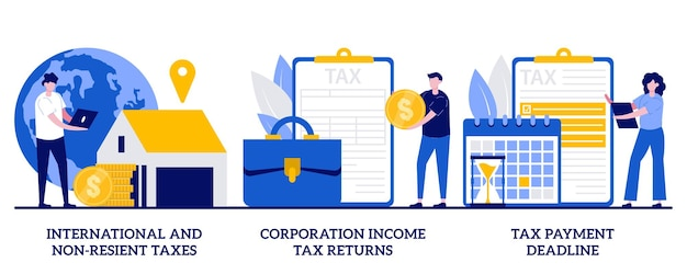 International and non-resident taxes, corporation income tax return, payment deadline concept with tiny people. tax planning and preparation abstract  illustration set. vat refund, fiscal year.