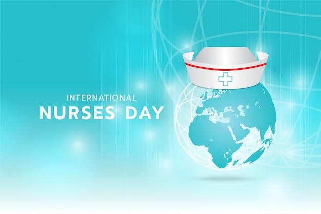 国際看護師の日:シアンの背景上を高速で移動するシアンの光とストライプのデジタル画像である地球上に生成されたナースキャップの画像