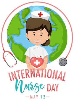 International nurse day logo with cute nurse on globe background