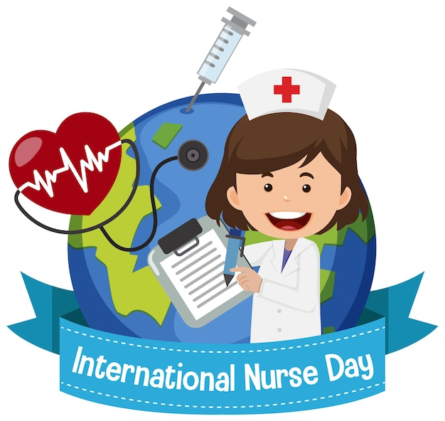 Логотип международного дня медсестер с милой медсестрой на фоне земного шара