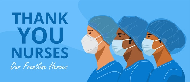 International nurses day,  nurses with face masks and protective caps.