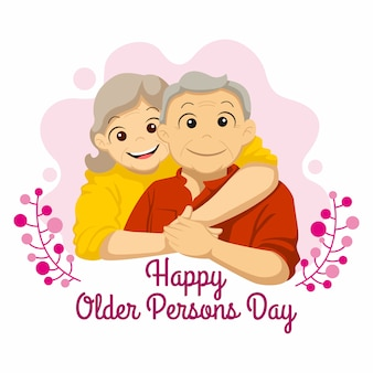 International of the older persons day. grandpa and grandma hugged illustration