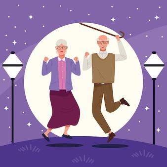 街で祝う老夫婦との国際高齢者デー