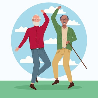 International older persons day with old men jumping celebrating