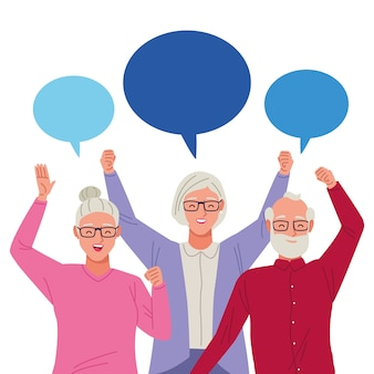 International older persons day with old people and speech bubble