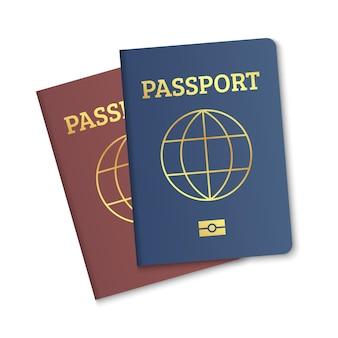 国際パスポートカバー赤と青のテンプレート生体認証市民パスポートカバー地図付き