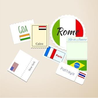 国際パスポートスタンプ、郵便料金マーク