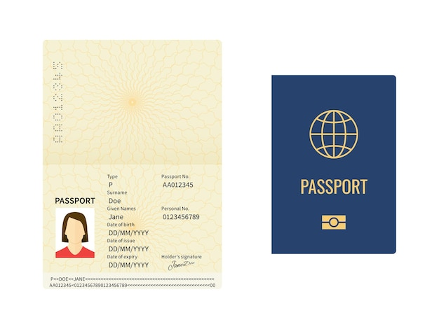 国際パスポートテンプレート。旅行用の閉じたドキュメントと開いたドキュメント