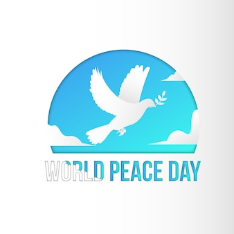 International peace day background template vector paper art