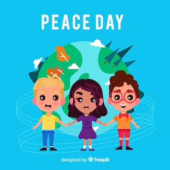 International peace day background with kids