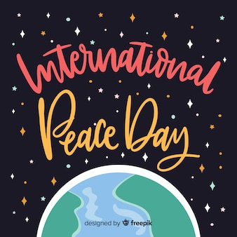 International peace day background with lettering