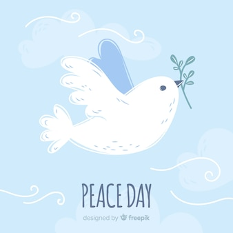 International peace day background with pigeons