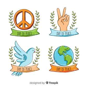 International peace day badge collection hand drawn style