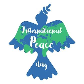 Баннер международного дня мира с голубем. вектор